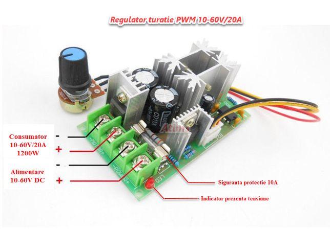 Sursa reglabila DC variator turatie motor PWM 10-60V 20A HHO