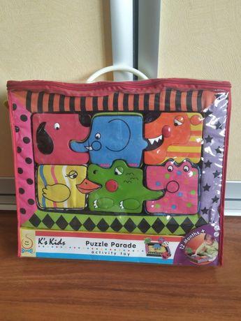 """set puzzle """"parada animalelor"""" textile moi k's kids puzzle 6 piese"""