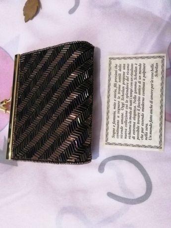 Mini pochette, portofel, cu margelute