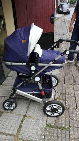 Запазена Бебешка количка 3 в 1 с чанта - зимна,лятна и кош