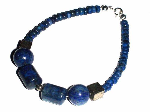 Bratara albastra barbati / unisex din Argint 925 Lapis lazuli Pirita