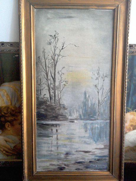 Tablou vechi, semnat Paul Verona - U/P/C - 78 cm x 43 cm cu ramă