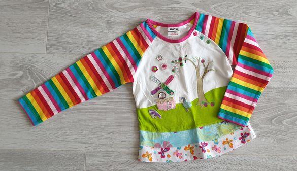 Блузка с бродерия в пъстри цветове