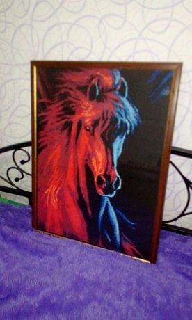Лошадь огненная. Вышивка.