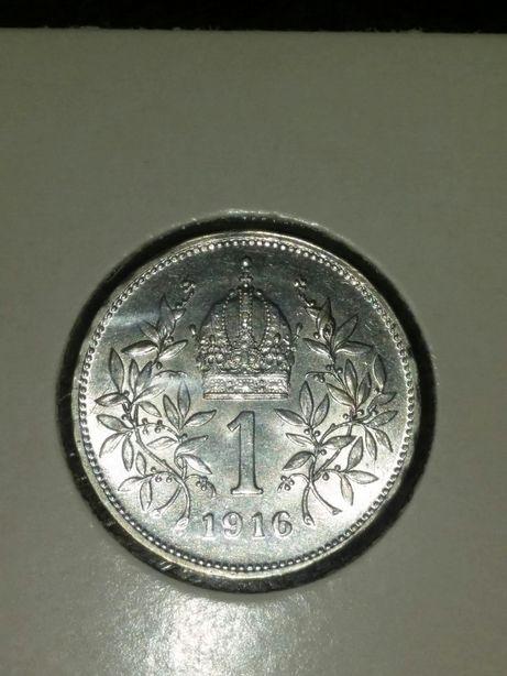 49 lei/Vand URGENT moneda argint 1 Corona 1916,Austro-Ungaria,SUPERBA!