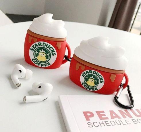 Husa rosie silicon Starbucks Airpods casti fara fir bluetooth