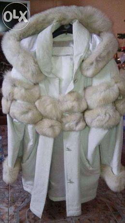 Schimb-vand haina din piele de dama, cu blana, model deosebit