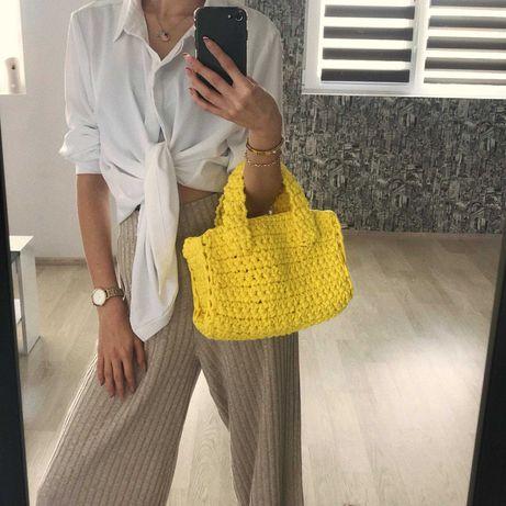 Жълта Плетена Лятна Чанта - Ръчна Изработка