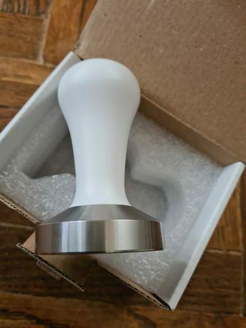 Tamper profesional 58 mm alb cu maner din lemn