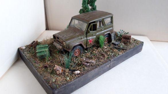 Diorama military jeep UAZ Abandoned диорама 1:34