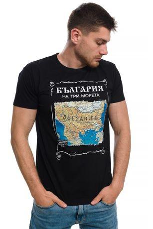 Страхотна нова мъжка тениска с щампа българия на три морета, карта