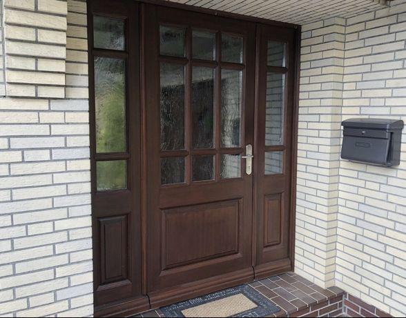 Usa casa vila firma intrare lemn geam vitraliu termopan H 212 x L 177