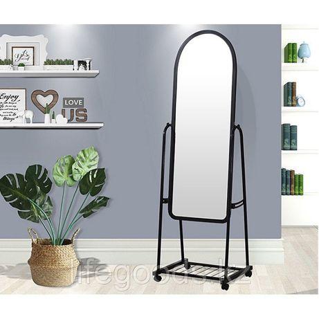 Зеркало напольное 160х45см регулируемое на колесиках цвет черный/белый
