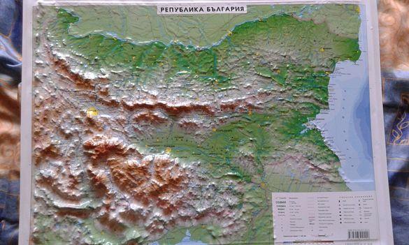 Релефна карта на България.