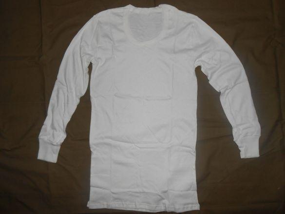 Нови памучни бели фланелки с дълак ръкав /фланели,тениски/