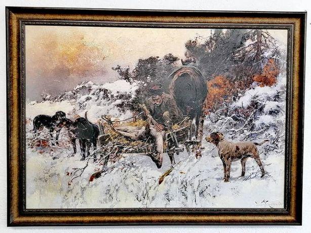 Tablouri Pictura reproducere Jaroslav Veshin,Temă de vânătoare 50х70cm
