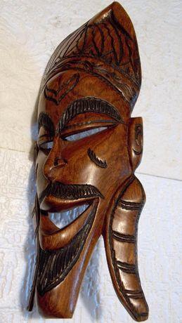 masca veche unicat 47 cm lucrata manual lemn esenta tare statueta