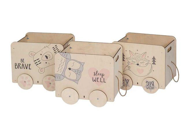 """Ящик для игрушек """"Мишка, Лисичка, Совушка"""""""