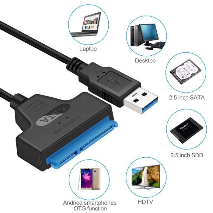 """USB 3.0 кабел за връзка към хардиск 2.5"""", USB към HDD/SSD, SATA 2 и 3"""