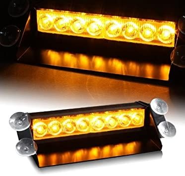 8 LED Жълта сигнална лампа за стъкло/табло, авариен блиц за кола