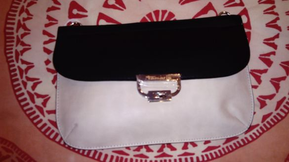 Нова чанта Тамарис, 30х20 см. Черно и бежово.