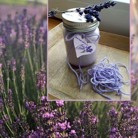Lumânare din ceară de soia și ulei esențial de lavandă