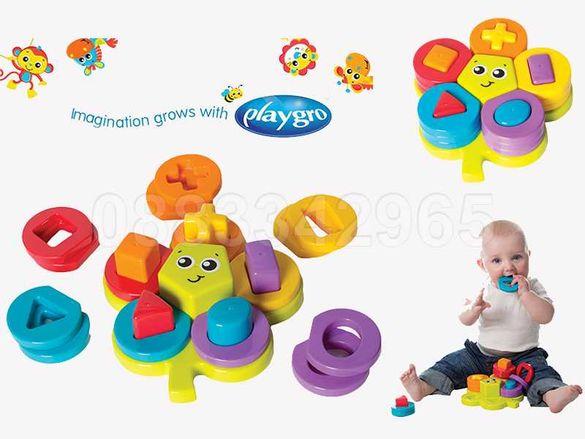 НОВИ! Активна играчка пъзел Playgro Shape Sorting Flower Puzzle