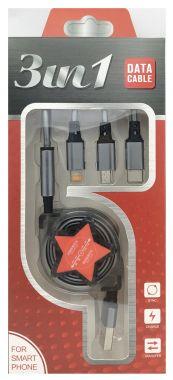 Cablu extensibil, USB A, tata → Type-C, Iphone 6/7/8, micro USB - 1m