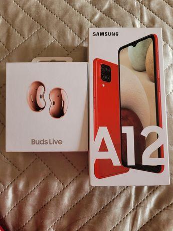 Телефон самсунг А12 и наушники galaxy buds live
