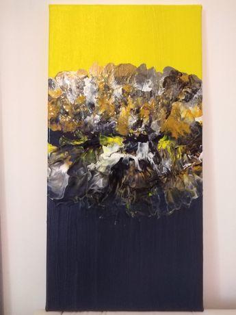 Tablou abstract realizat pe panza cu acrilice