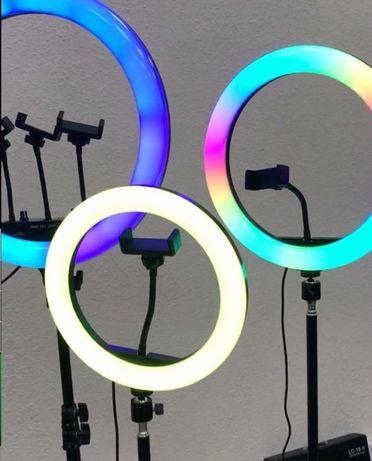 + ПОДАРОК! 33 см Цветная Кольцевая RGB Лампа LED тик ток