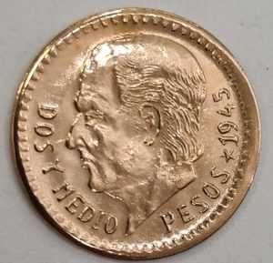 Moneda din aur 2½ Pesos Mexic 1945