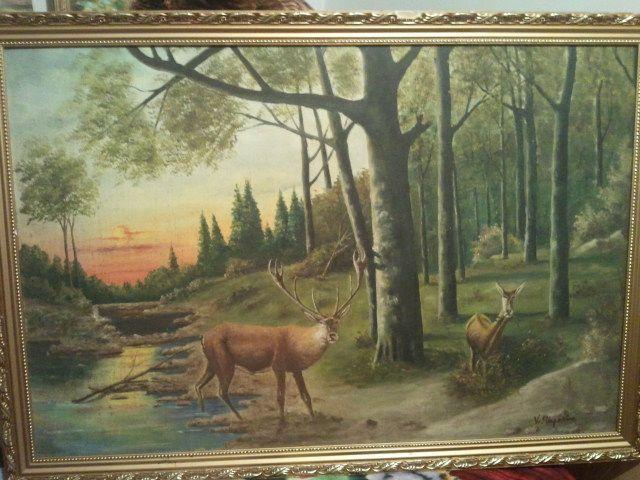 Pictura caprioare semnat V. Stupariu