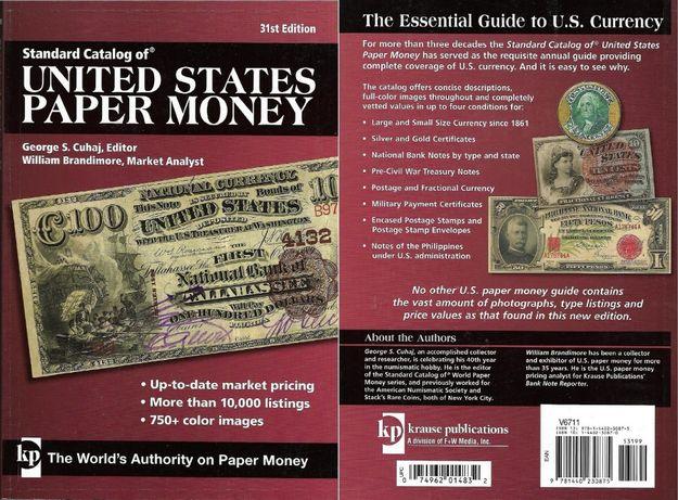 Carte catalog numismatic color bancnotele americane