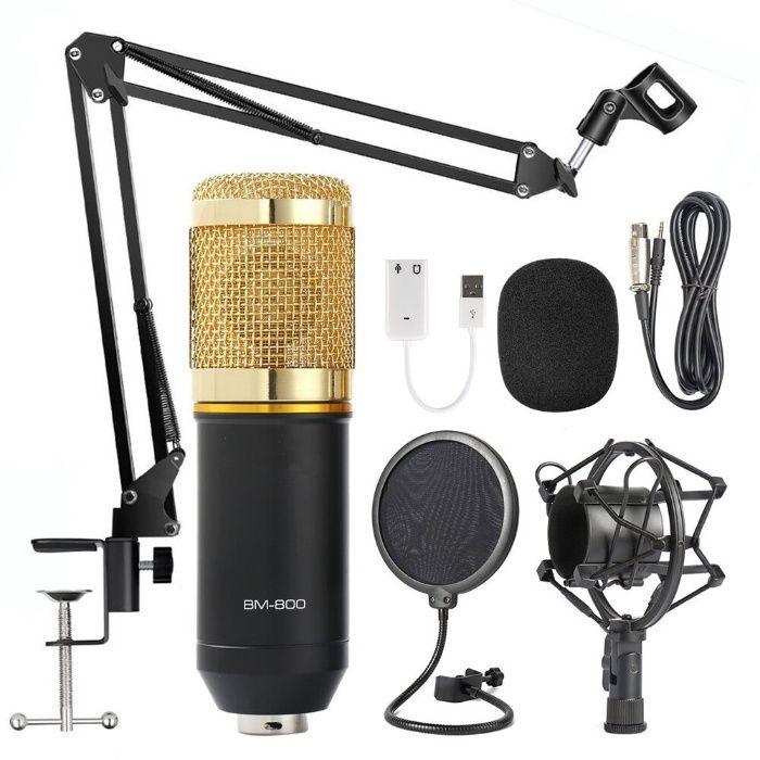 Микрофон BM-800,Cтойка,(Штатив) Поп фильтр,Паук,Usb Звуковая карта,