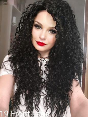 Peruca bruneta afro, creată, lunga!