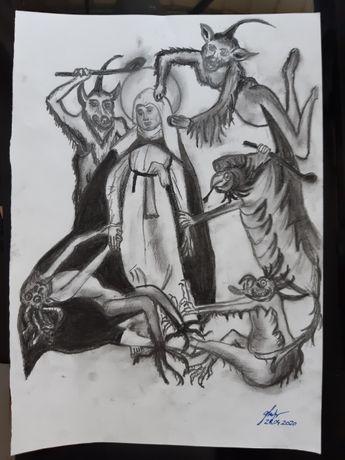 desen A4 Sf Catherine of Siena asaltata de demoni, carbune si grafit
