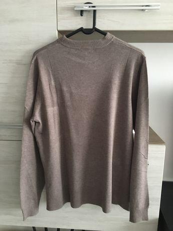 Pulover tricotat fin gri -bej melanj H&M marimea M