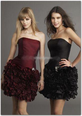 НОВА MORI LEE абитуриентска бална официална рокля тъмно червена XS S