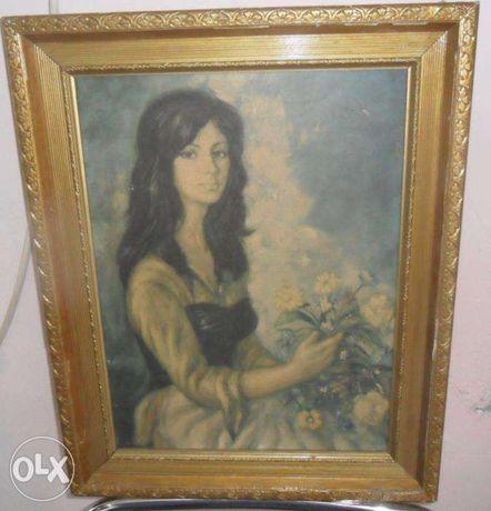 Vand tablou fata cu flori
