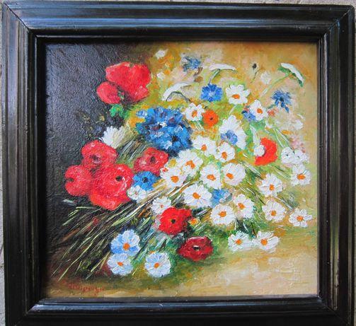 Tablou cos cu flori semnat Cimpoesu.