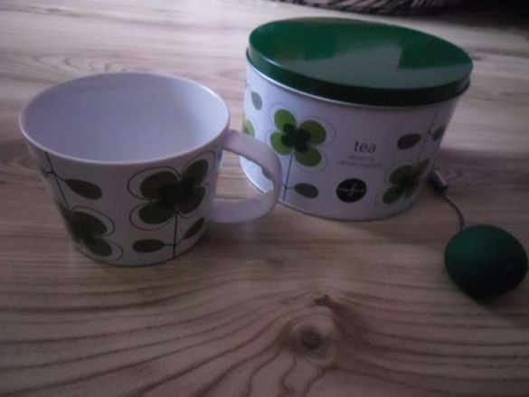 луксозен комплект чаша,цедка и кутия за чай Sagaform Теа