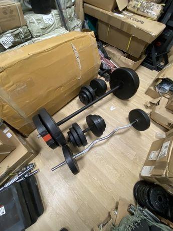 Pachet sala fitness acasa, Gantere reglabile+haltera+bara z+Discuri.