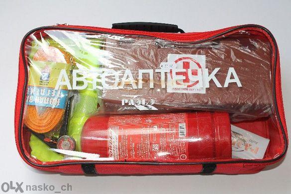 Авто аптечка за кола или бус+колан за дърпане авариен комплект за кола