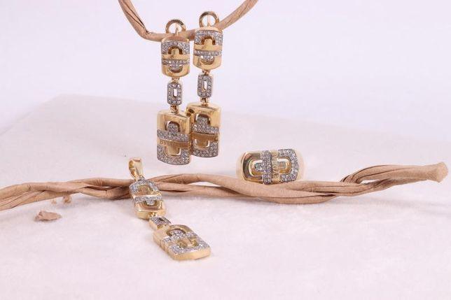 Серьги с бриллиянтом, золото 585 (14K), вес 18.85 г. «Ломбард Белый»