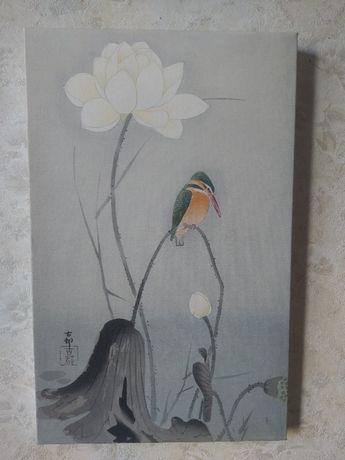 tablou canvas cu pescarus si nufar