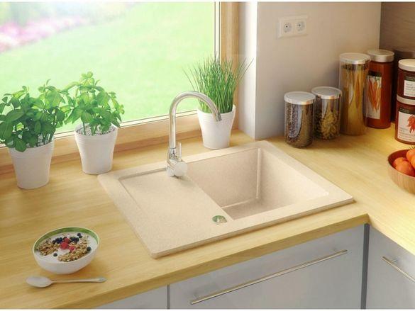Гранитна Мивка за Кухня с отцедник модел Ибиза + Сифон Антибактериална