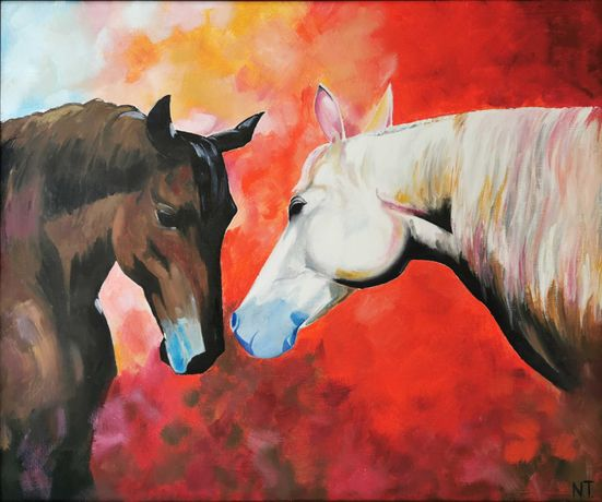 """Картина маслом на холсте """"Лошади""""."""
