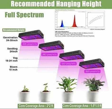 LED лампи Phlizon 600W Grow Light за отглеждане на растения