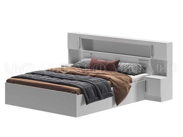 Бася кровать 1.6 с надстройкой с тумбами (Белый)